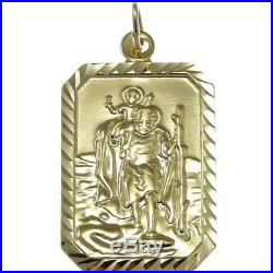Rectangular Mens 9ct Gold St Saint Christopher Pendant Chain Necklace With Box