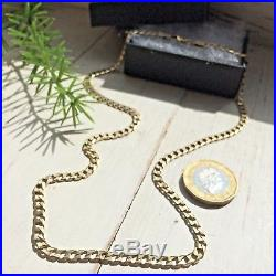 SUPERB 9ct SOLID YELLOW GOLD CURB LINK VINTAGE CHAIN NECKLACE 18 1/4 10.9g