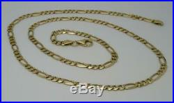Solid 21 inch 9ct Hallmarked Yellow Gold Figaro Curb Link Chain 11.4g