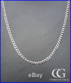 Solid 9ct White Gold Men's Unisex 6mm Curb Chain Necklace 20 22 24