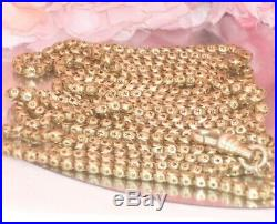 Star Linksvery Long Antique Victorian 9ct Gold Rg Muff Guard Chain 28gm