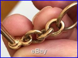 Stunning Solid 9ct Gold Double Albert Chain & Matching Fob Necklace 69 Grammes