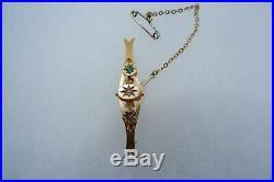 Suffragette Art Nouveau 9ct Gold Bar Brooch, Safety Chain C1890's, Period Box
