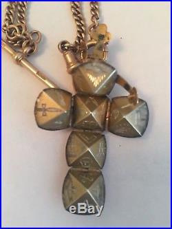 Superb 9ct gold albert watch chain t bar masonic ball pendant rose gold c1800s