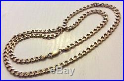 Superb Gents Very Heavy Solid 9CT Gold Curb Chain 24.5 inch Over 30 grams