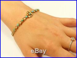 VERY RARE ANTIQUE 9ct GOLD TURQUOISE & PEARL FLOWER BRACELET CHAIN