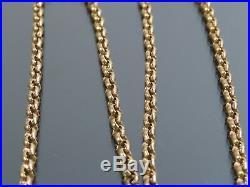 VINTAGE 9ct GOLD BELCHER LINK WATCH CHAIN NECKLACE 18 1/2 inch 1973