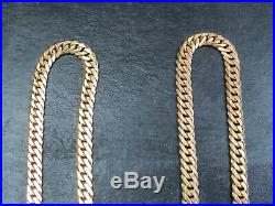 VINTAGE 9ct GOLD FACETED CURB LINK NECKLACE CHAIN 20 inch C. 1990