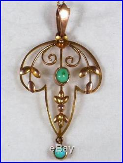Victorian 9ct Gold & Turquoise Set Art Nouveau Necklace Pendant & 18 9ct Chain