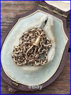 Victorian Antique 9ct Gold Fancy Link Long Guard Chain Necklace 54 Cm Dog Clip