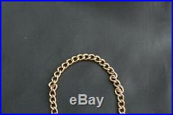 Vintage 9ct Gold Chunky Curb Charm Bracelet Heart Lock Safety Chain 11.4 grams