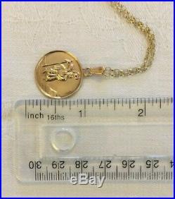 Vintage 9ct Gold St Christopher Charm Pendant & 20 Cable Link Necklace Chain