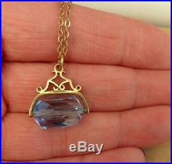 Vintage 9ct Gold Swivel Blue Albert Fob Pendant 9ct Chain Necklace UK Hallmarks