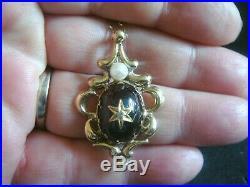 Vintage Bohemian Garnet Diamond & Pearl 9ct Gold Lavaliere Pendant 20 Ins Chain